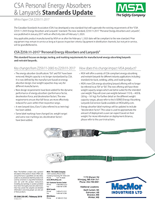 Open PDF of the MSA - New CSA Z259.11-2017 Personal Energy Absorbers & Lanyards Standard resource