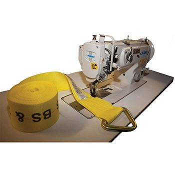 Sewing machine with webbing symbolizing custom sewing