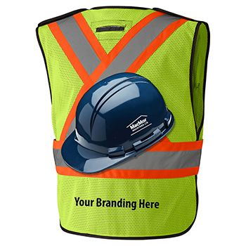Traffic safety vest and hard hat with option for custom branding