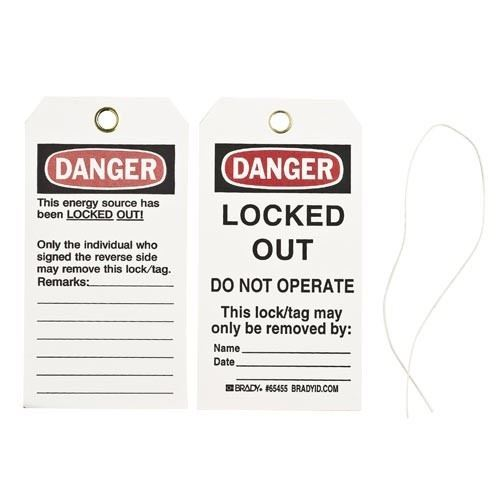 """Picture of Brady """"Danger Locked Out - Do Not Operate"""" Lockout Tags"""