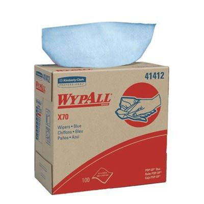 "Picture of WypAll X70 Hydroknit Blue Reinforced Wipers - 9.1"" x 16.8"""