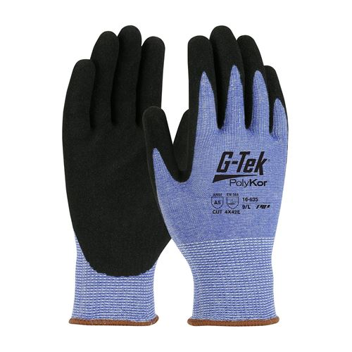 Picture of G-Tek®  16-635 Cut-Resistant PolyKor® Blended Glove with Black Nitrile Palm and Fingers