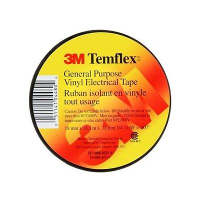 """Picture of 3M Black TEMFLEX Electrical Tape - 3/4"""" x 60'"""