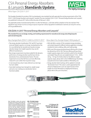 Picture for MSA - New CSA Z259.11-2017 Personal Energy Absorbers & Lanyards Standard